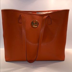 MICHAEL KORS Orange saffiano leather tote bag
